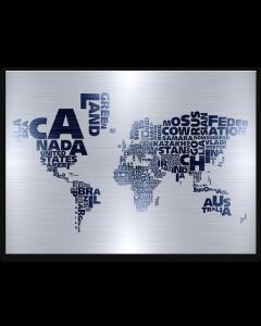 Tavla Canvas 85x113 Världskarta Steel