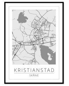 Tavla med ram Kristianstad Karta 50x70