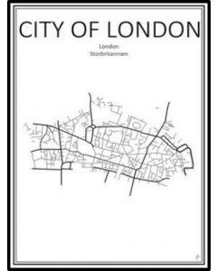 Poster 50x70 London Karta (Tub)