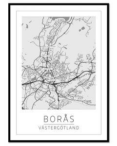 Tavla med ram Borås Karta 50x70