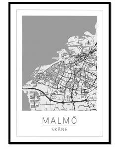 Tavla med ram Malmö Karta 50x70