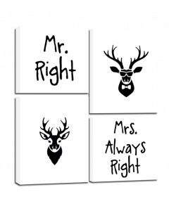 Tavla Canvas 64x74 Mr Right 4 delar
