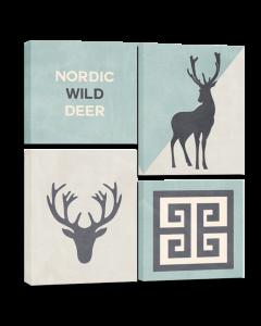 Tavla Canvas 64x74 Deer 4 delar