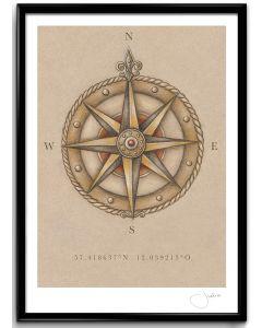Konstblad 30x40 Kompass