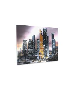 Tavla Canvas Silver 75x100 Gold Tower
