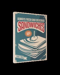 Tavla Canvas 30x40 Retro Food Sandwich
