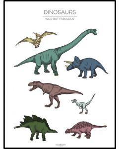 Poster 50x70 Barnmotiv Dinos White (planpackad)
