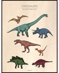 Poster 50x70 Barnmotiv Dinos Vintage (planpackad)