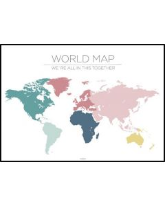 Poster 50x70 Barnmotiv Worldmap White (planpackad)