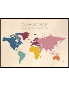 Poster 50x70 Barnmotiv Worldmap Vintage (planpackad)