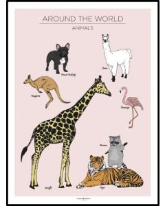 Poster 50x70 Barnmotiv Around the world Vintage (planpackad)