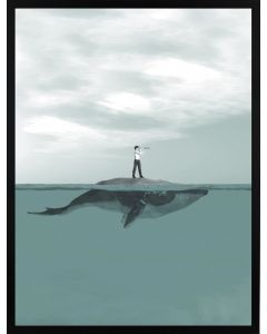 Poster 50x70 Pastell Whale (planpackad)