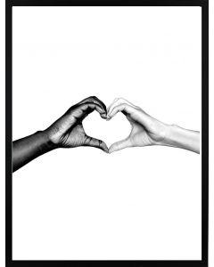 Poster 30x40 B&W Hands Heart (planpackad)