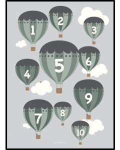 Poster 30x40 Barnmotiv Ballonger Grön