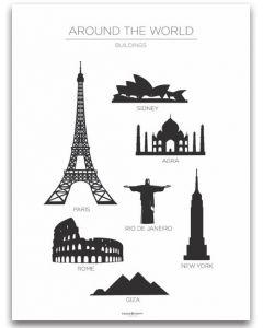 Poster 30x40 Barnmotiv Buildings White