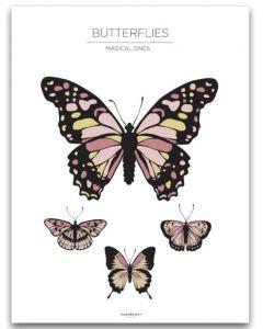 Poster 30x40 Barnmotiv Butterflies White