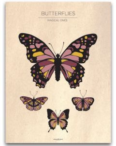 Poster 30x40 Barnmotiv Butterflies Vintage
