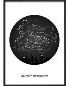 Poster 30x40 B&W Stars Southern Hemisphere (planpackad)